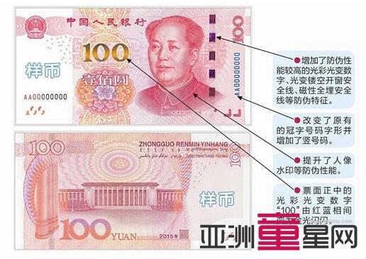 """新版100元将发行:即将流通的""""土豪金""""百元大钞 4招教你辨真伪"""